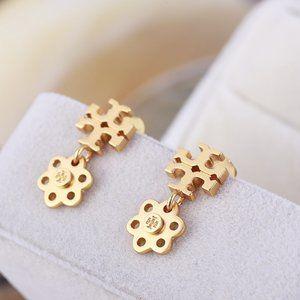 Tory Burch Cross Micro Label Golden Flower Earring